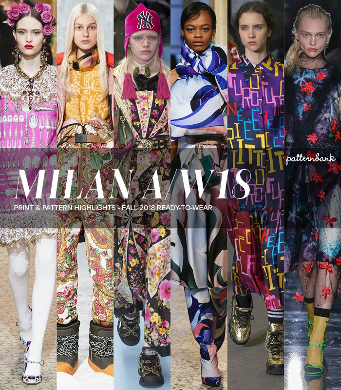 587473170ca1 Patternbank brings you a concise overview of the most important print    pattern collections, from Fall 2018 RTW Milan Fashion Week shows.