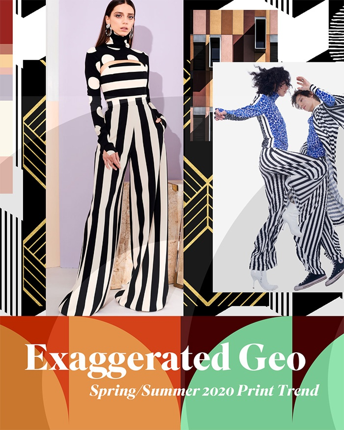2020 Spring Summer Trends.Spring Summer 2020 Print Pattern Trend Exaggerated Geo